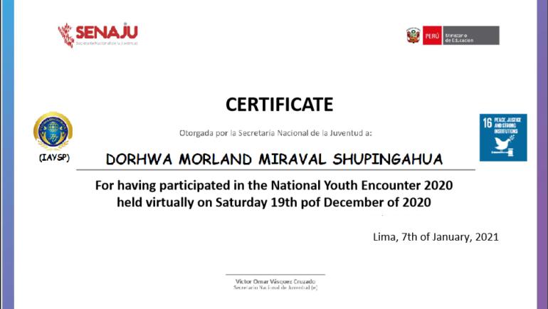 Certificate of Recognition (Peru)
