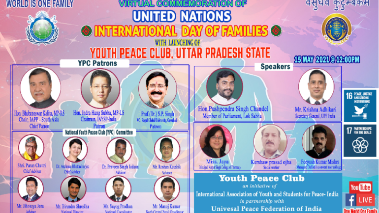 International Day of Families commemorated with Youth Peace Club launching and New Youth Ambassadors (India)